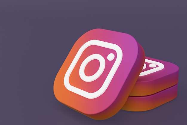 Instagram applicatie logo 3d-rendering op paarse achtergrond Premium Foto