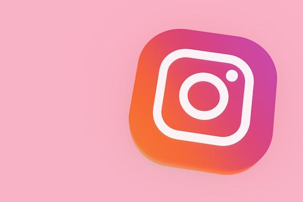 Instagram applicatie logo 3d-rendering op roze achtergrond Premium Foto
