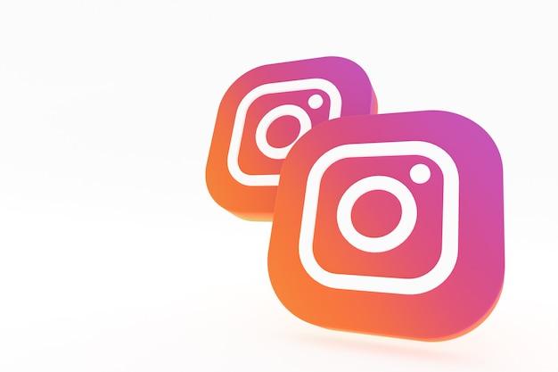 Instagram applicatie logo 3d-rendering op witte achtergrond Premium Foto