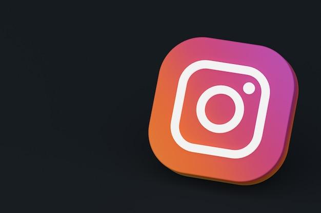 Instagram applicatie logo 3d-rendering op zwarte achtergrond Premium Foto
