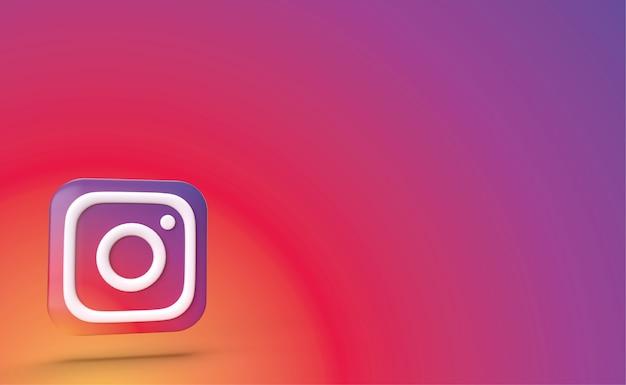 Instagram backgraund 3d render, social media-logo Premium Foto