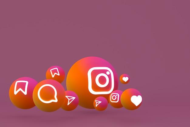 Instagram icon set rendering op bruine achtergrond Premium Foto