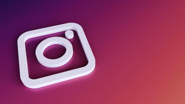 Instagram logo knoppictogram 3d met kopie ruimte. 3d-weergave Premium Foto