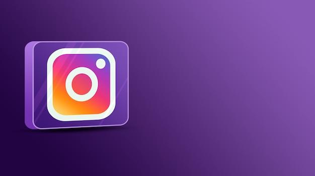 Instagram-logo op een glazen platform 3d Premium Foto