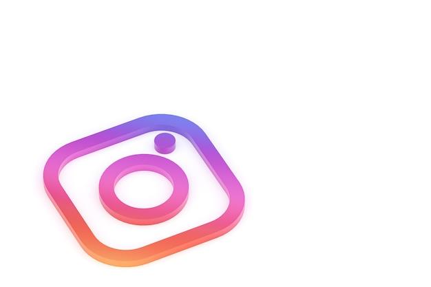 Instagram minimaal logo 3d-rendering close-up voor achtergrond ontwerpsjabloon Premium Foto