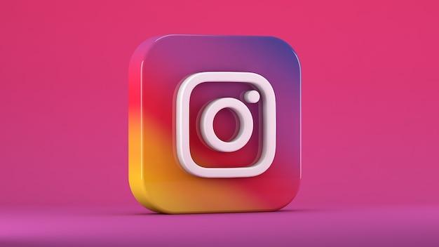 Instagram-pictogram geïsoleerd op roze in een vierkant met stompe randen Premium Foto