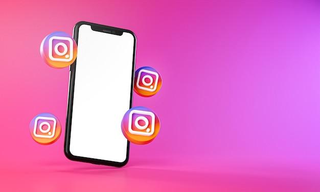 Instagram-pictogrammen rond 3d-rendering van de smartphone-app Premium Foto