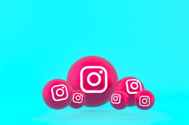 Instagram pictogrammenset weergave op blauwe achtergrond Premium Foto