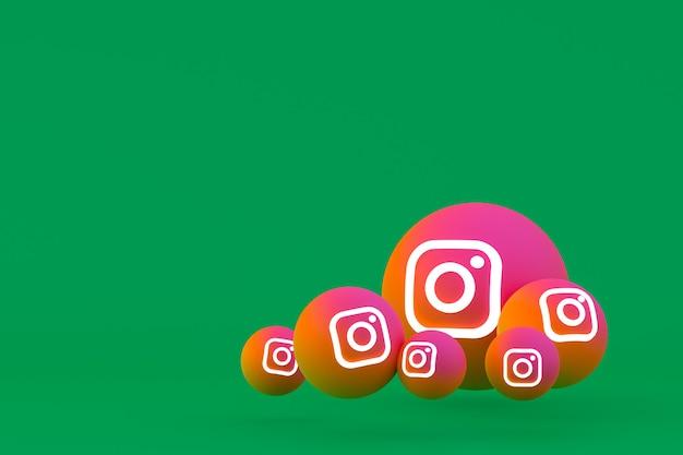 Instagram pictogrammenset weergave op groene achtergrond Premium Foto