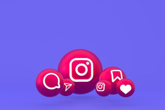 Instagram pictogrammenset weergave op paarse achtergrond Premium Foto