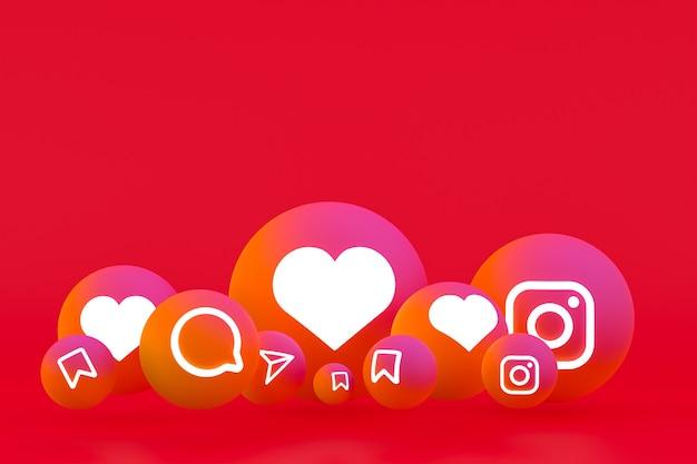 Instagram pictogrammenset weergave op rode achtergrond Premium Foto