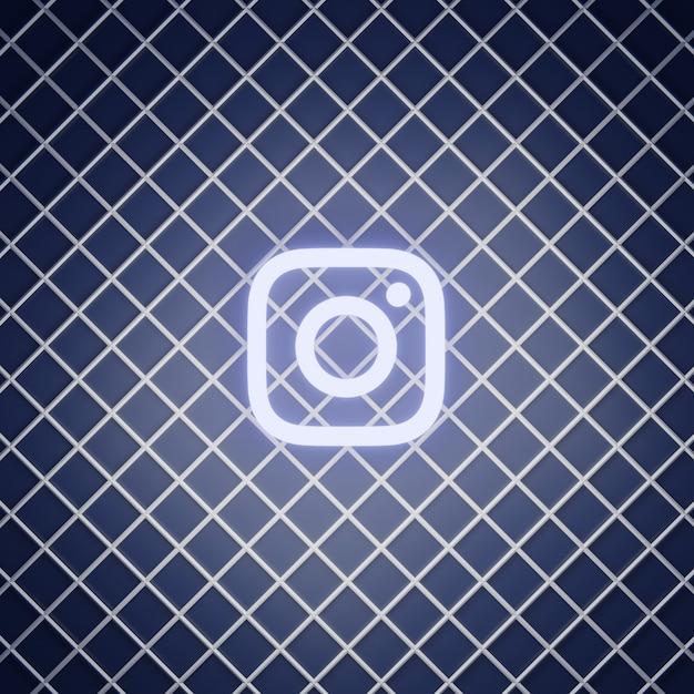 Instagram teken neon effect render Premium Foto