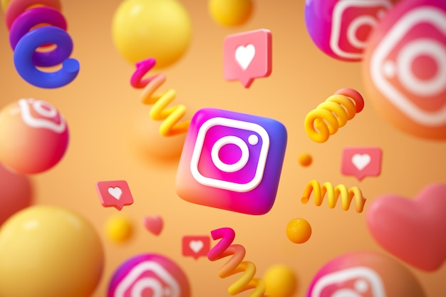 Instagram-toepassingslogo met emoji en zwevende objecten Premium Foto