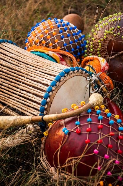 Instrumenten voor afrikaans carnaval Premium Foto