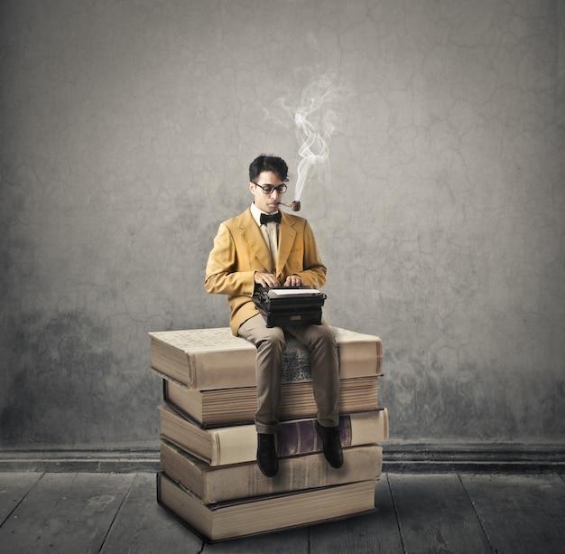Intellectuele denkwijze van een man Premium Foto