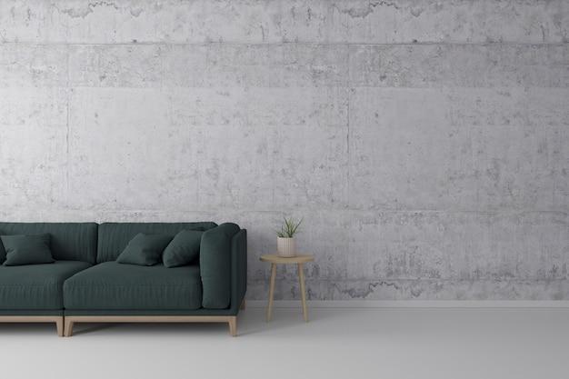 Interieur loft stijl woonkamer met groene stoffen bank, houten bijzettafel met betonnen muur op betonnen witte vloer. Premium Foto