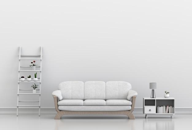 Interieur ontwerp voor woonkamer of receptie met sofa, plant. 3d ...