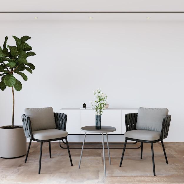 Interieur van een kamer met een stoel Premium Foto