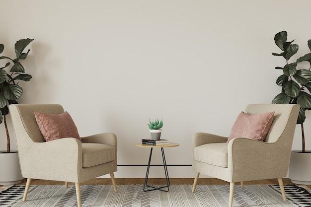 Interieur van een kamer met fauteuil en bloemen Premium Foto
