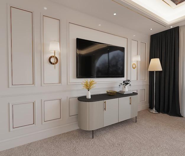 Interieur van een kamer met tv Premium Foto