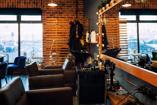 Interieur van een moderne schoonheidssalon. schoonheidsindustrie. Premium Foto