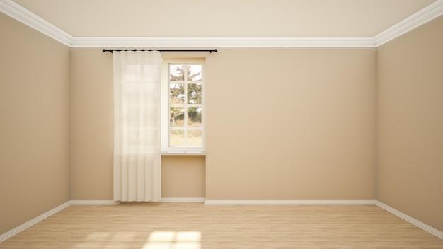 Interieur van lege kamer en woonkamer moderne stijl met raam en houten vloer. Premium Foto