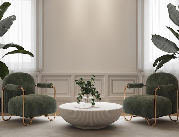 Interieurontwerp met groene fauteuil en planten Premium Foto