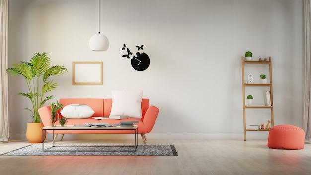 Interieurposter mock-up woonkamer met kleurrijke witte bank. 3d-weergave Premium Foto