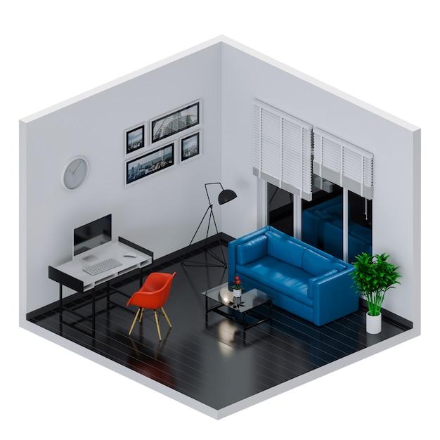Interieurruimte voor werkruimte met desktopcomputer. 3d render Premium Foto