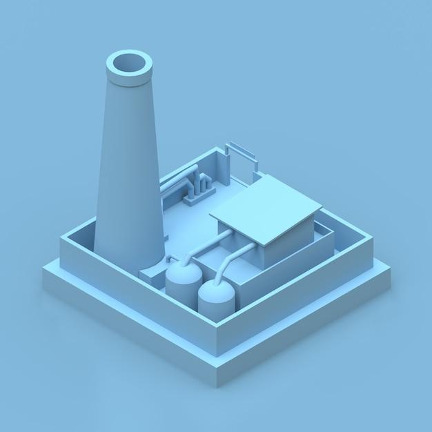 Isometrische blauwe fabriek renderen Premium Foto