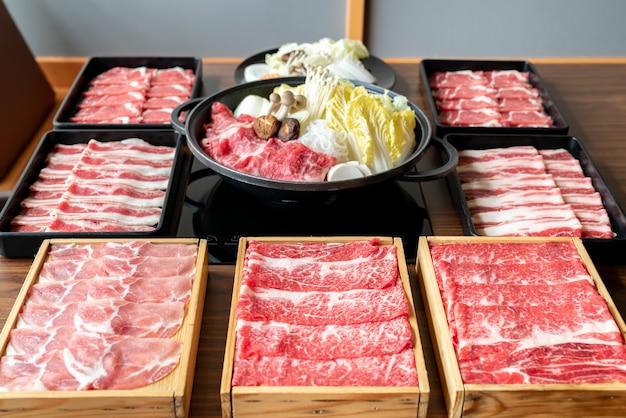 Japanse sukiyaki-set Premium Foto