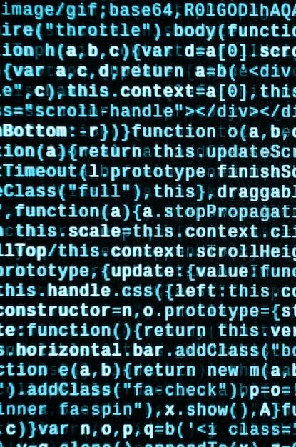 Javascript-code in teksteditor. codering van cyberspace-concept. scherm van webontwikkelingscode Premium Foto