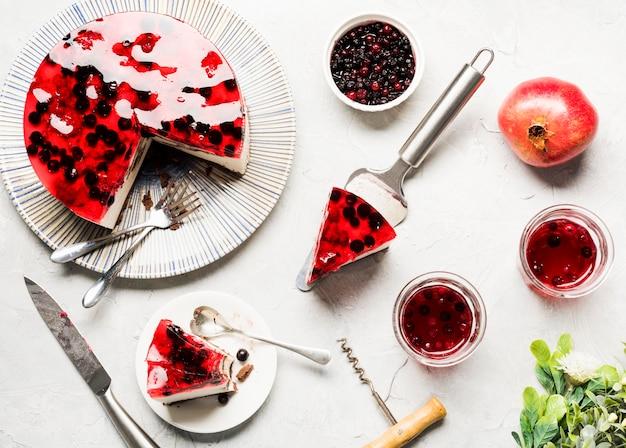 Jelly cake arrangement bovenaanzicht Gratis Foto