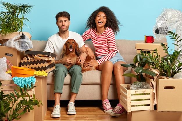 Jong divers gezinspaar speelt met hond, zit op de bank in een lege ruimte, veel persoonlijke dingen in de buurt, kartonnen pakketten, huur nieuw modern appartement, geïsoleerd over blauwe muur. Gratis Foto