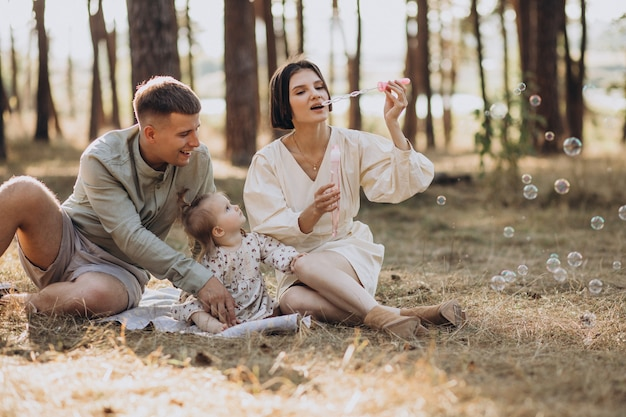 Jong gezin met schattige dochtertje rusten in het bos op de zonsondergang Gratis Foto