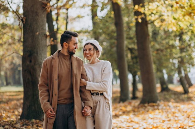 Jong koppel samen in een herfst park Gratis Foto