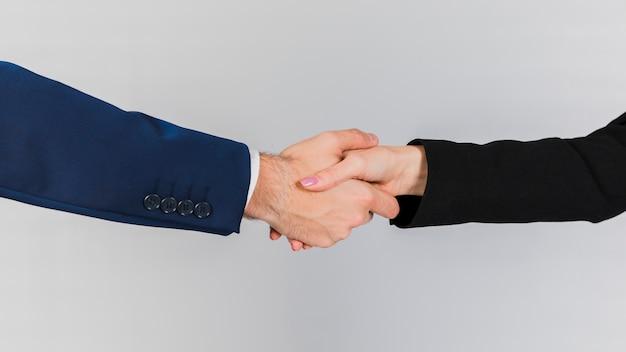 Jonge bedrijfsmensen die elkaars hand op een grijze achtergrond schudden Gratis Foto