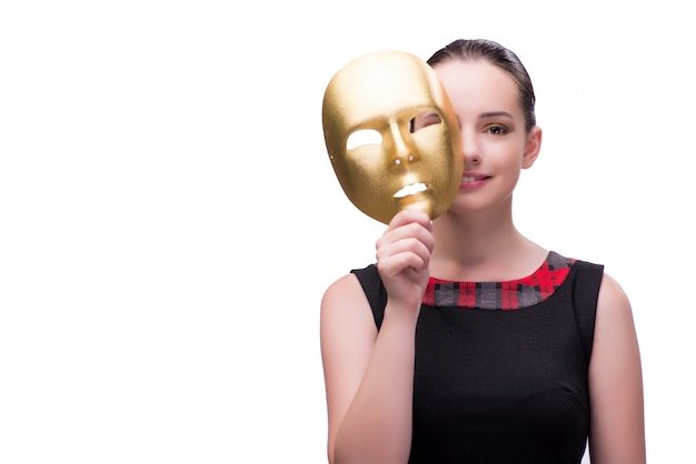 Jonge die vrouw met masker op wit wordt geïsoleerd Premium Foto