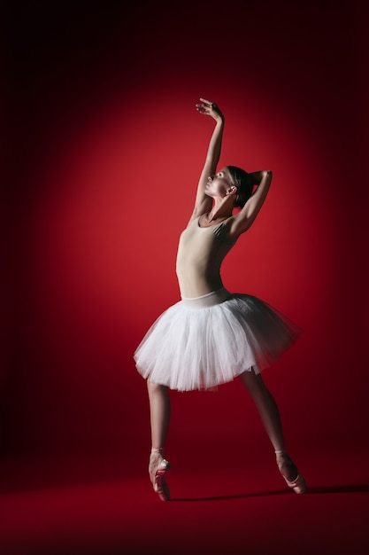 Jonge sierlijke vrouwelijke balletdanser of klassieke ballerina dansen op rode studio. Gratis Foto