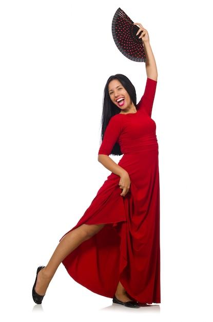 Jonge vrouw dansen geïsoleerd op wit Premium Foto
