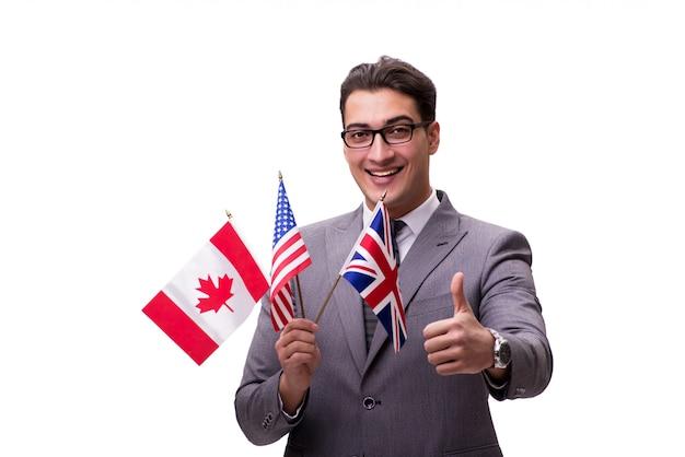 Jonge zakenman met vlag die op wit wordt geïsoleerd Premium Foto