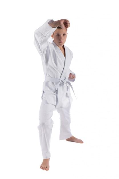 Jongen het stellen met karatetechnieken op geïsoleerd wit Premium Foto