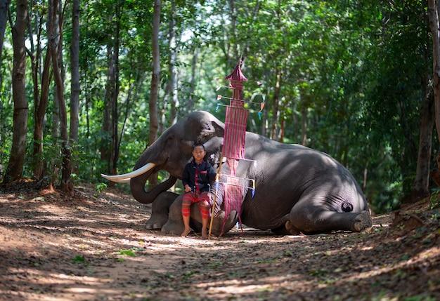 Jongen in traditionele kostuum en olifantszitting in bos Premium Foto