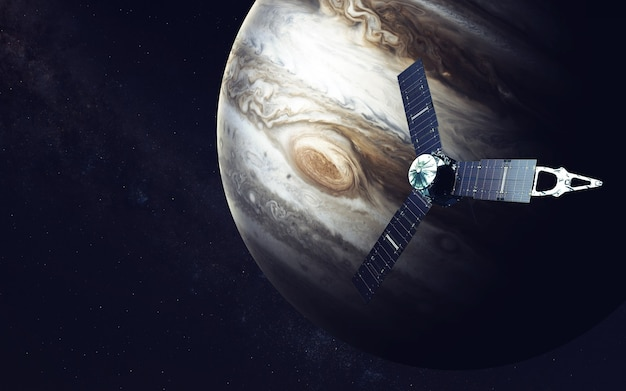 Juno ruimtevaartuig en jupiter Premium Foto