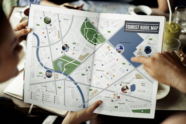 Kaart avontuur bestemming navigatieroute reisconcept Premium Foto