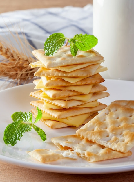 Kaas en crackers met verse melk Premium Foto