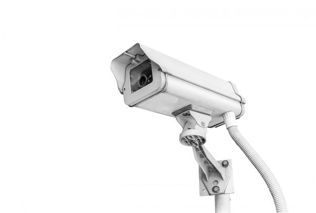 Kabeltelevisie-camera op wit wordt geïsoleerd dat Premium Foto