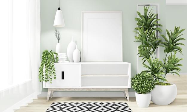 Kabinet houten minimaal japans ontwerp op kamer modern zen design. 3d-rendering Premium Foto