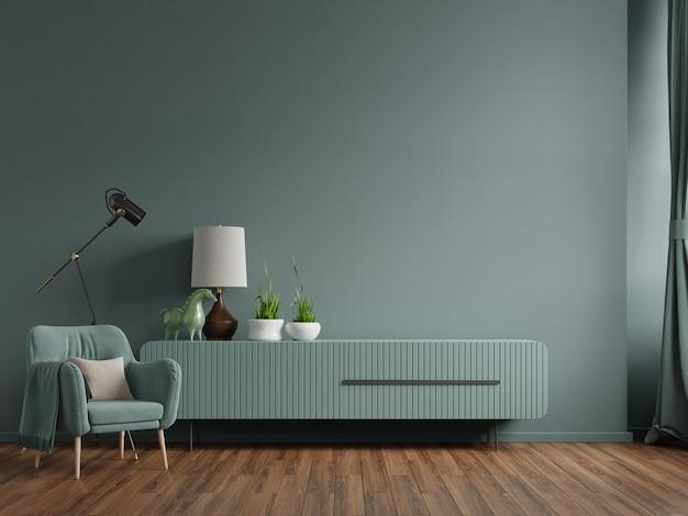 Kabinet in moderne woonkamer met fauteuil, lamp, tafel, bloem en plant op groene muur achtergrond, 3d-rendering Premium Foto