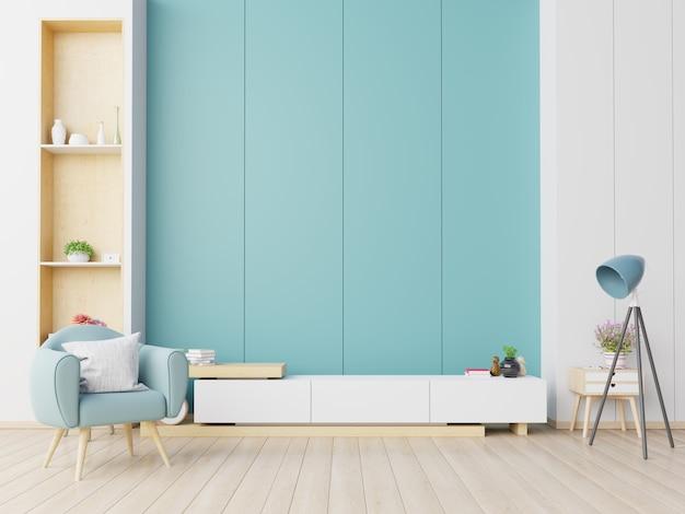 Kabinet tv in moderne woonkamer met fauteuil op blauwe muur. Premium Foto